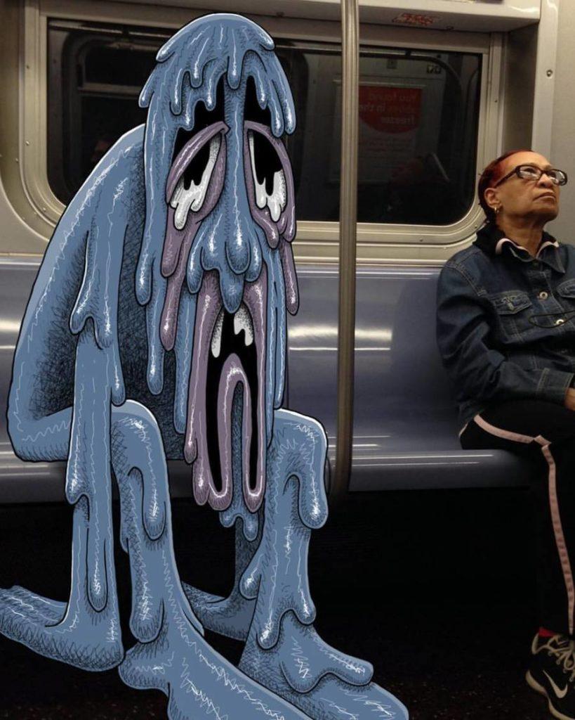 Monsters Doodles in New York Subway by Ben Rubin 819x1024 Funny Monsters Doodles in New York Subway by Ben Rubin