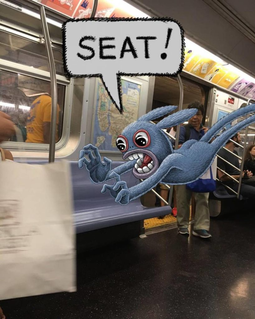 Stunning Monsters Doodles in New York Subway 1 819x1024 Funny Monsters Doodles in New York Subway by Ben Rubin