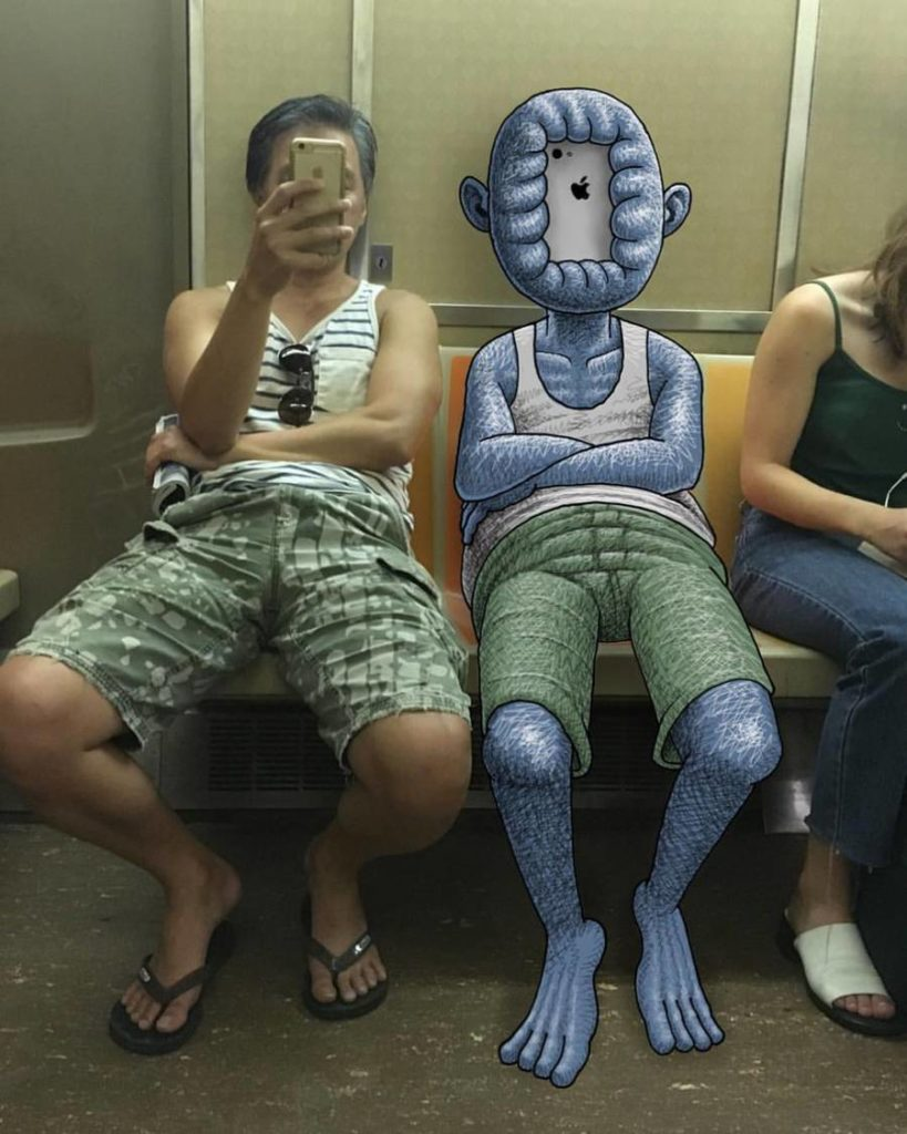 Stunning Monsters Doodles in New York Subway 3 819x1024 Funny Monsters Doodles in New York Subway by Ben Rubin