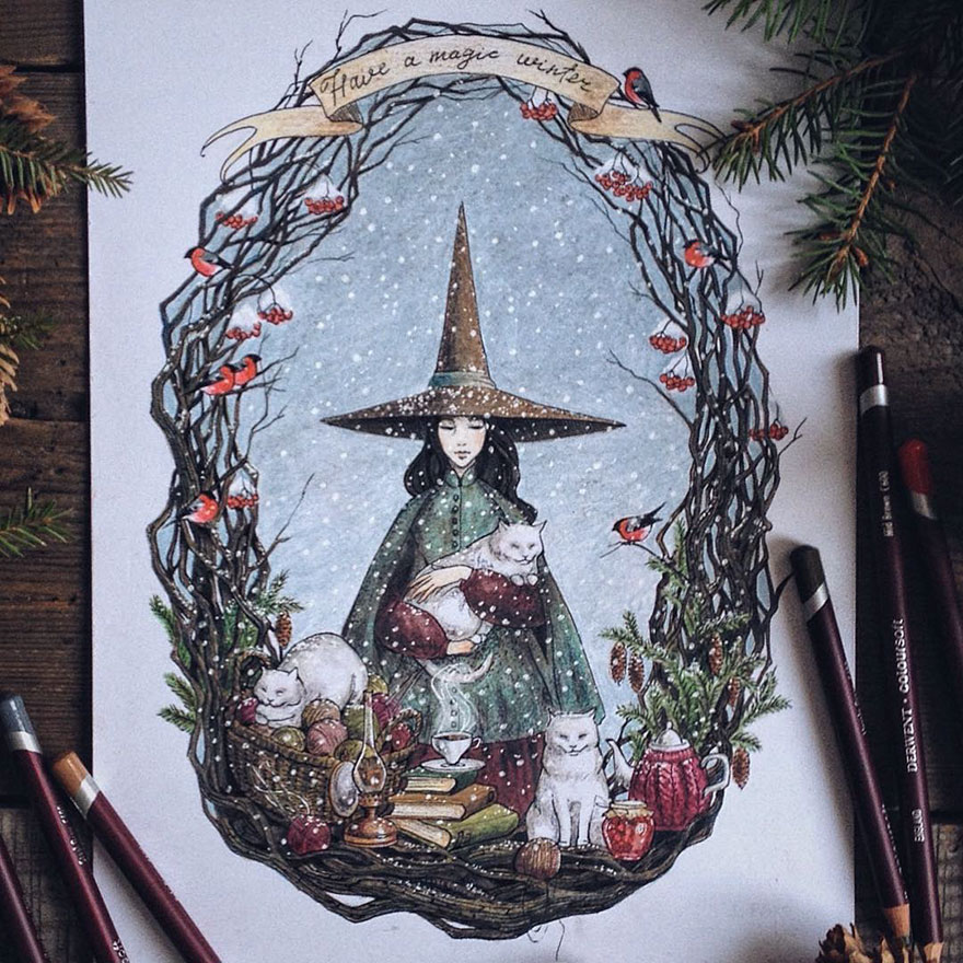 Beauty Color Pencil Drawings by Lia Selina Fairytale Inspired Color Pencil Drawings By Russian Artist