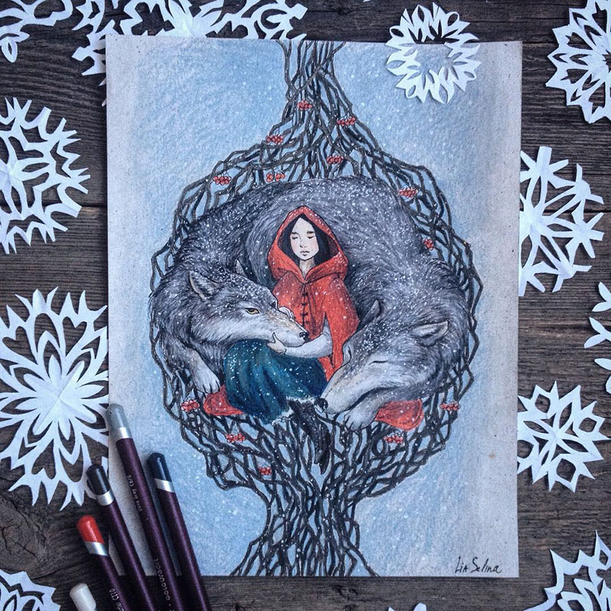 Cute Fairytale Inspired Color Pencil Drawings by Lia Selina Fairytale Inspired Color Pencil Drawings By Russian Artist