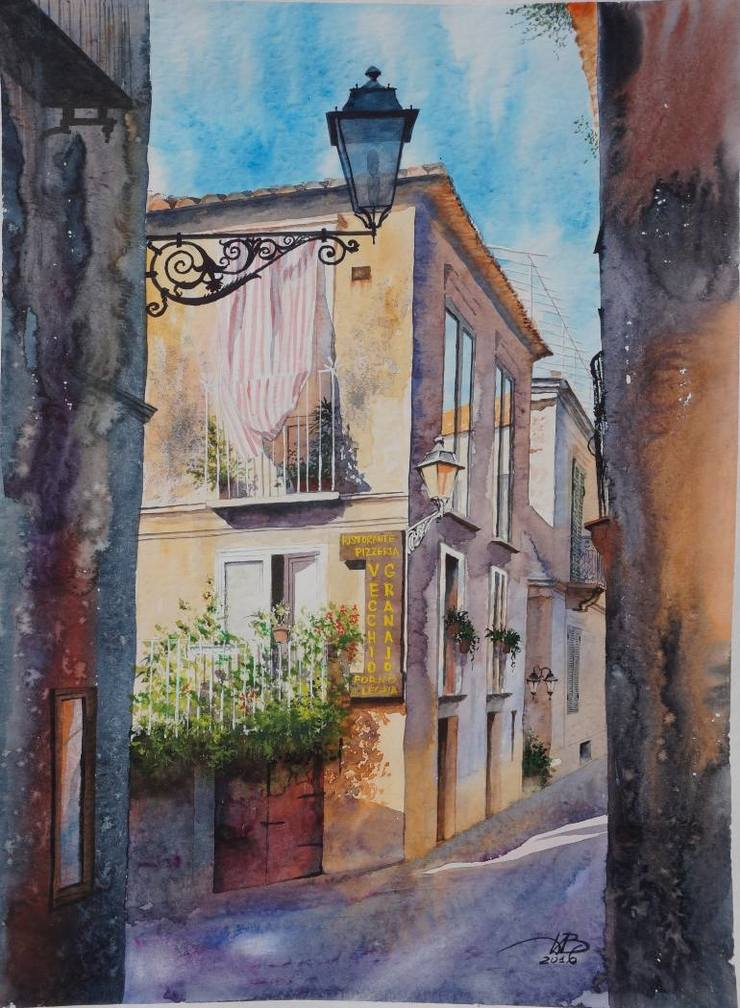 Beautiful European Cityscape Painting by Igor Dubovoy Stunning European Cityscape Watercolor Painting by Igor Dubovoy