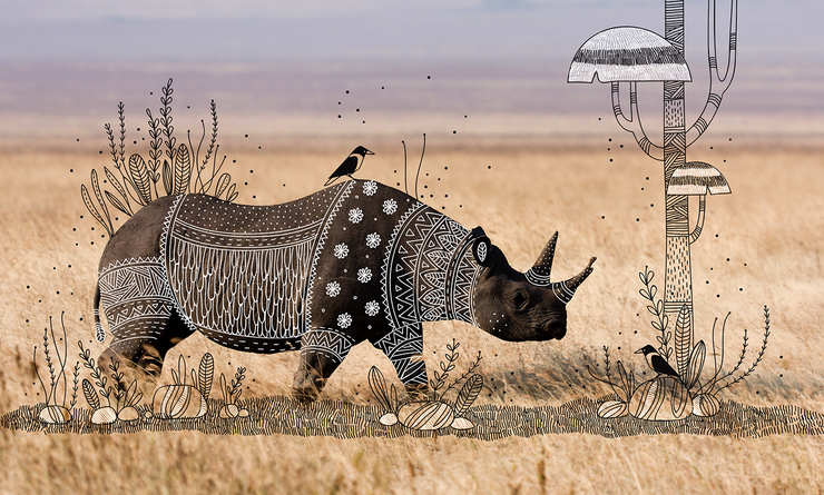 Animal Doodles : Elegant Tribal Design Over Animal Photographs