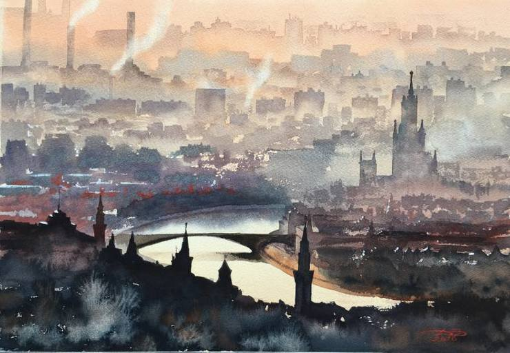 European Cityscape Watercolor Painting by Igor Dubovoy 99 Stunning European Cityscape Watercolor Painting by Igor Dubovoy