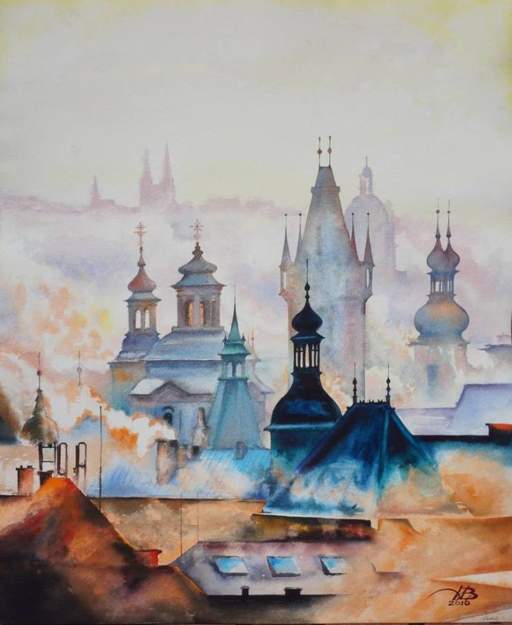 Stunning European Cityscape Painting by Igor Dubovoy Stunning European Cityscape Watercolor Painting by Igor Dubovoy