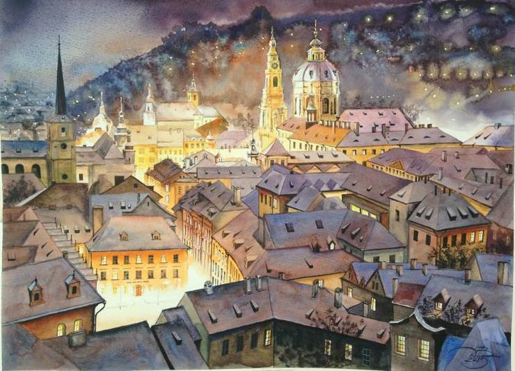 Stunning European Cityscape Watercolor Painting by Igor Dubovoy 99 Stunning European Cityscape Watercolor Painting by Igor Dubovoy