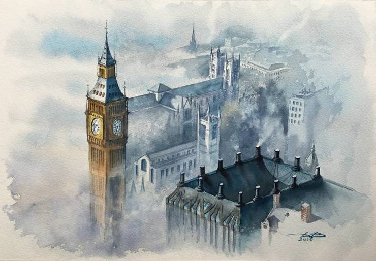 Wonderful European Cityscape Watercolor Painting by Igor Dubovoy Stunning European Cityscape Watercolor Painting by Igor Dubovoy