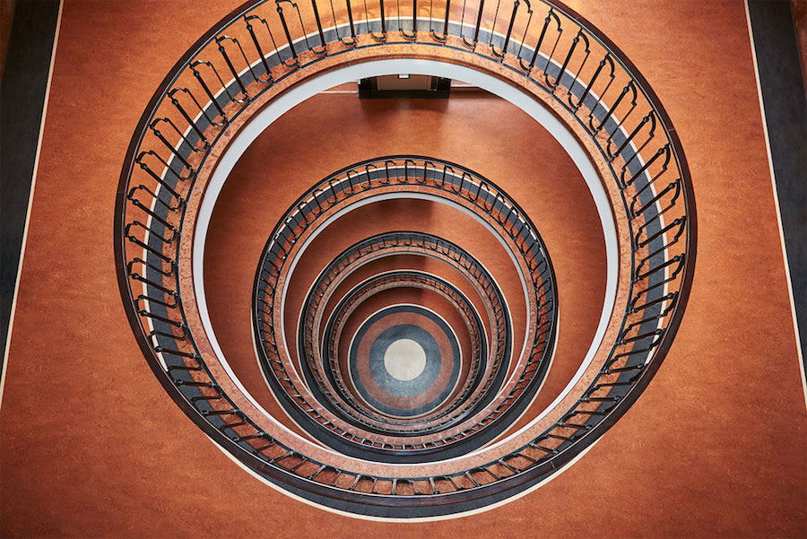 Explore Spiral and Geometric Budapest's Bauhaus staircases by Balint Alovits 4 Explore Spiral and Geometric Budapest's Bauhaus Staircases Shot From Above