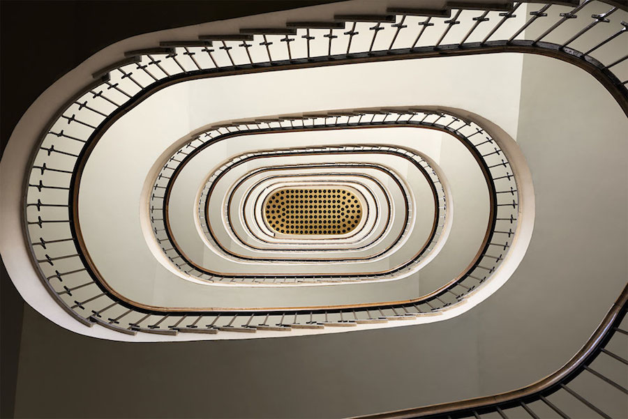 Explore Spiral and Geometric Budapest's Bauhaus staircases by Balint Alovits 7 Explore Spiral and Geometric Budapest's Bauhaus Staircases Shot From Above