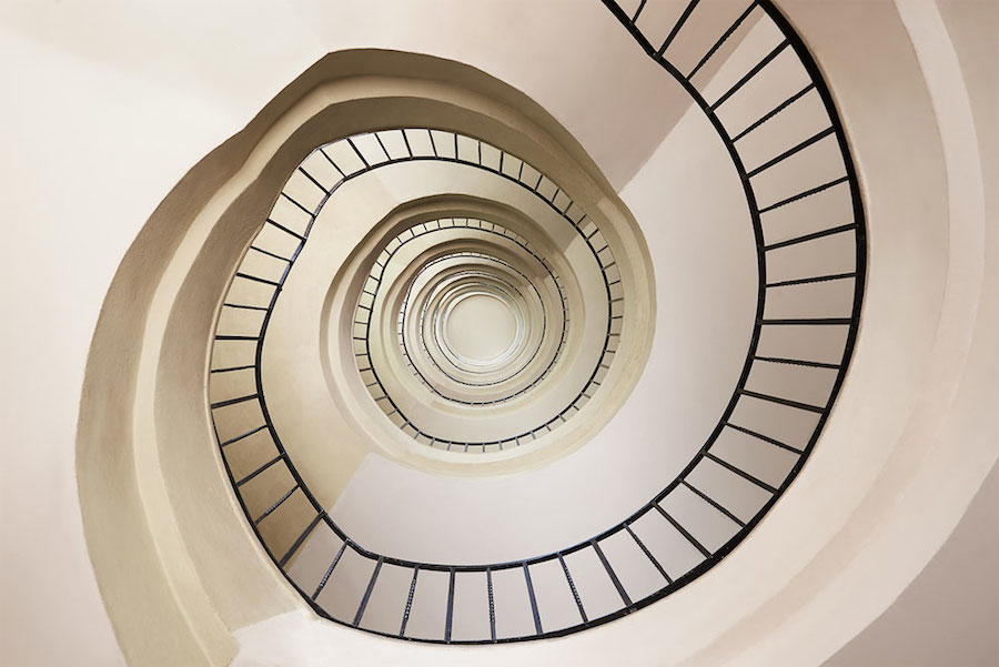 Explore Spiral and Geometric Budapest's Bauhaus staircases by Balint Alovits 8 Explore Spiral and Geometric Budapest's Bauhaus Staircases Shot From Above
