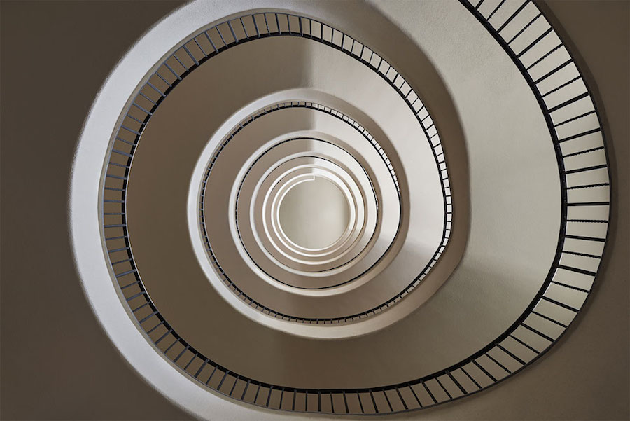 Explore Spiral and Geometric Budapest's Bauhaus staircases by Balint Alovits 9 Explore Spiral and Geometric Budapest's Bauhaus Staircases Shot From Above
