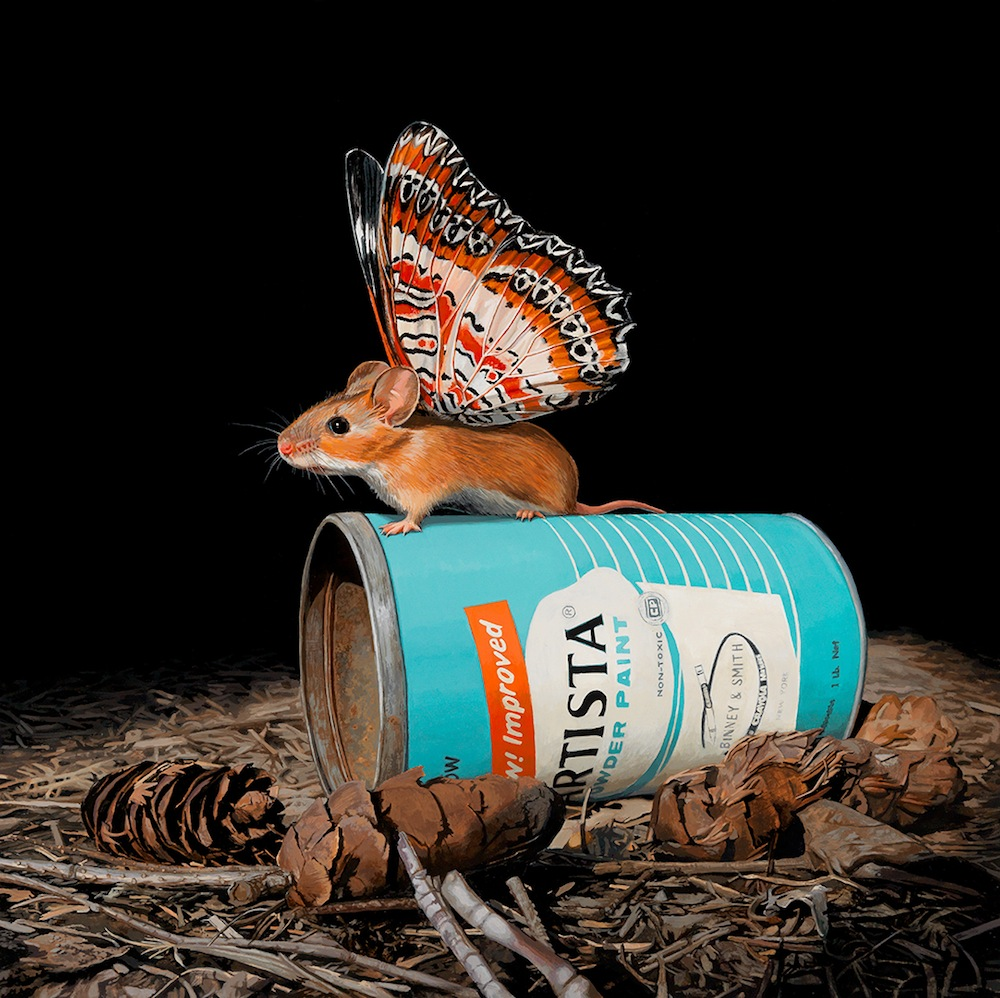 Hyperrealistic Paintings Tiny Mouse With Butterfly Wings by Lisa Ericson