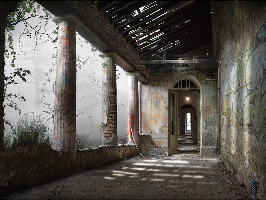 Photomontages Corridor by Suzanne Moxhay Photomontages That Trace Light Through Overgrown Countrysides and Abandoned Interiors