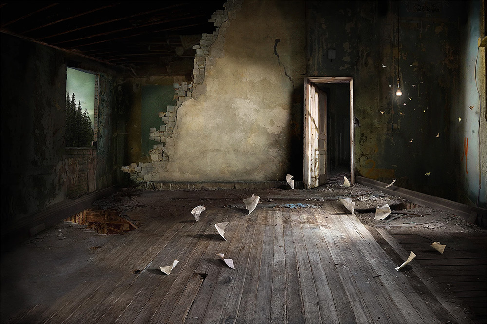 Photomontages by Suzanne Moxhay 99 Photomontages That Trace Light Through Overgrown Countrysides and Abandoned Interiors