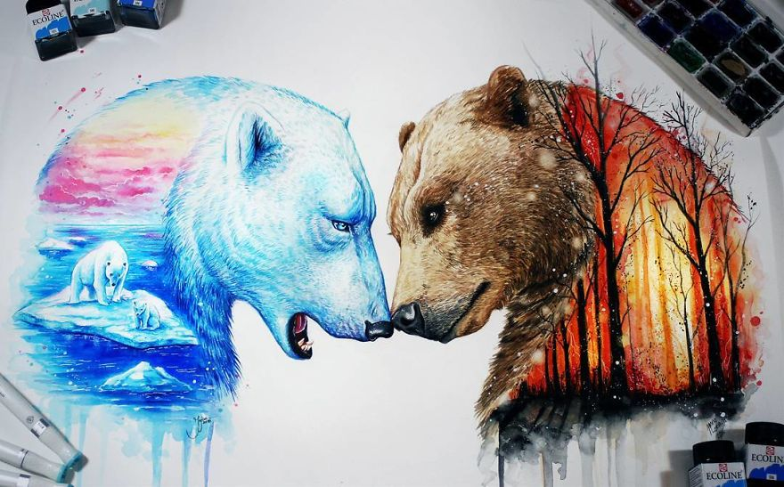 Creative Animals Painting Remind Us To Preserve Nature 3 Astounding Animals Painting Remind Us To Preserve Nature