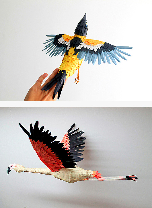Colourful Paper Bird Sculptures By Diana Beltran Herrera 2