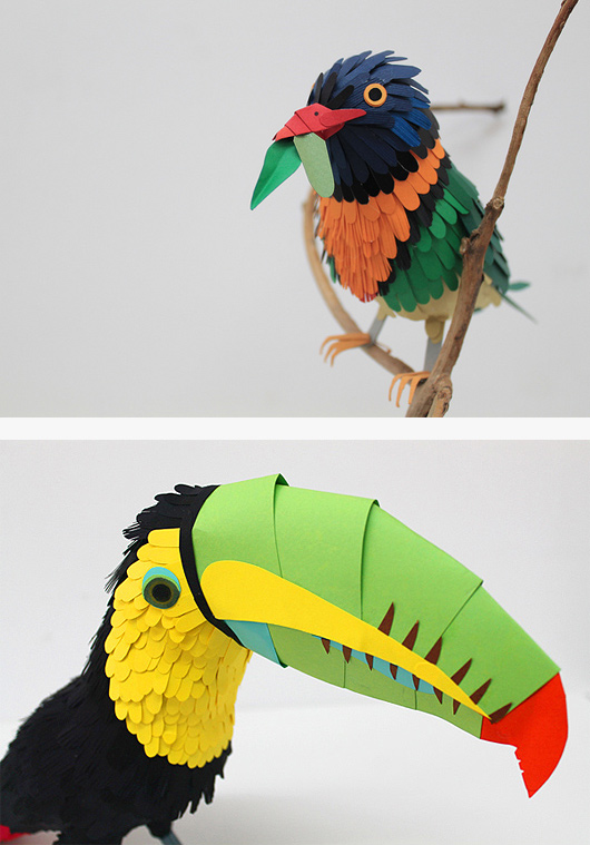 Colourful Paper Bird Sculptures by Diana Beltran Herrera Colourful Paper Bird Sculptures by Diana Beltran Herrera