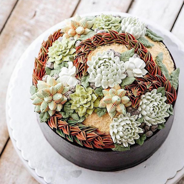 Delicious Flower Cakes Created by Iven Kawi 2 Delicious and Amazing Terrarium and Flower Cakes Created by Iven Kawi