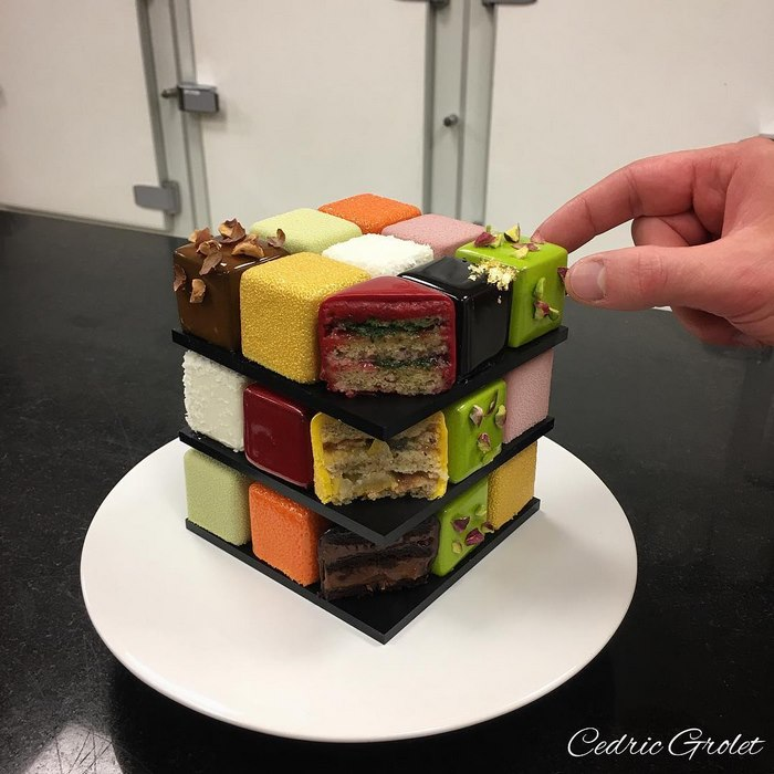 Rubiks Cube Cake Pastry Cedric Grolet 2 Rubik's Cakes Are A Thing And They're Too Pretty To Eat