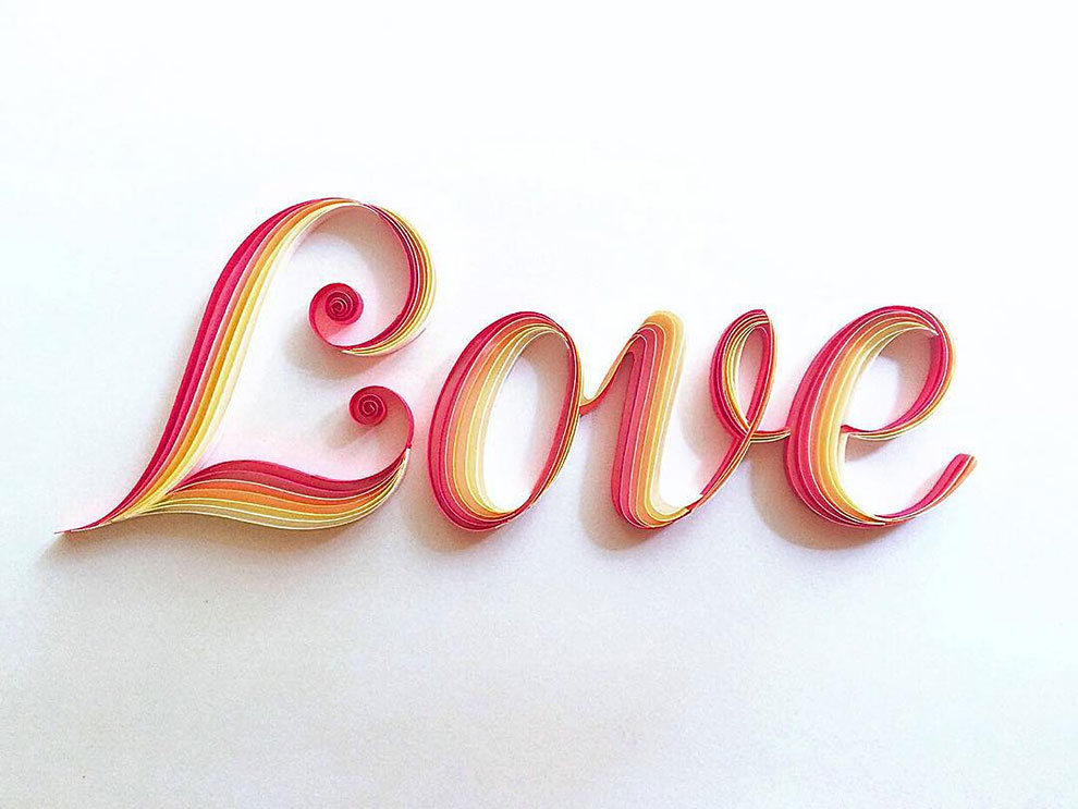 Typographic Paper Artworks by Sabeena Karnik 7 Typographic Paper Artworks with Quilling Technique by Sabeena Karnik