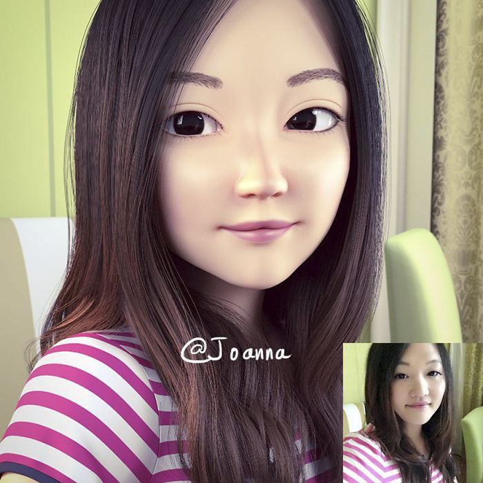 Artist Transforms Strangers Into Awesome 3D Cartoons 14 Artist Turns People Into 3D Pixar Like Characters