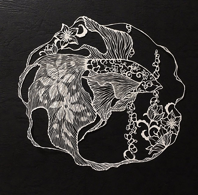 Japanese style of Paper Cuts Art Detailed Paper Cuts Swirling Forms Of Nature by Kiri Ken