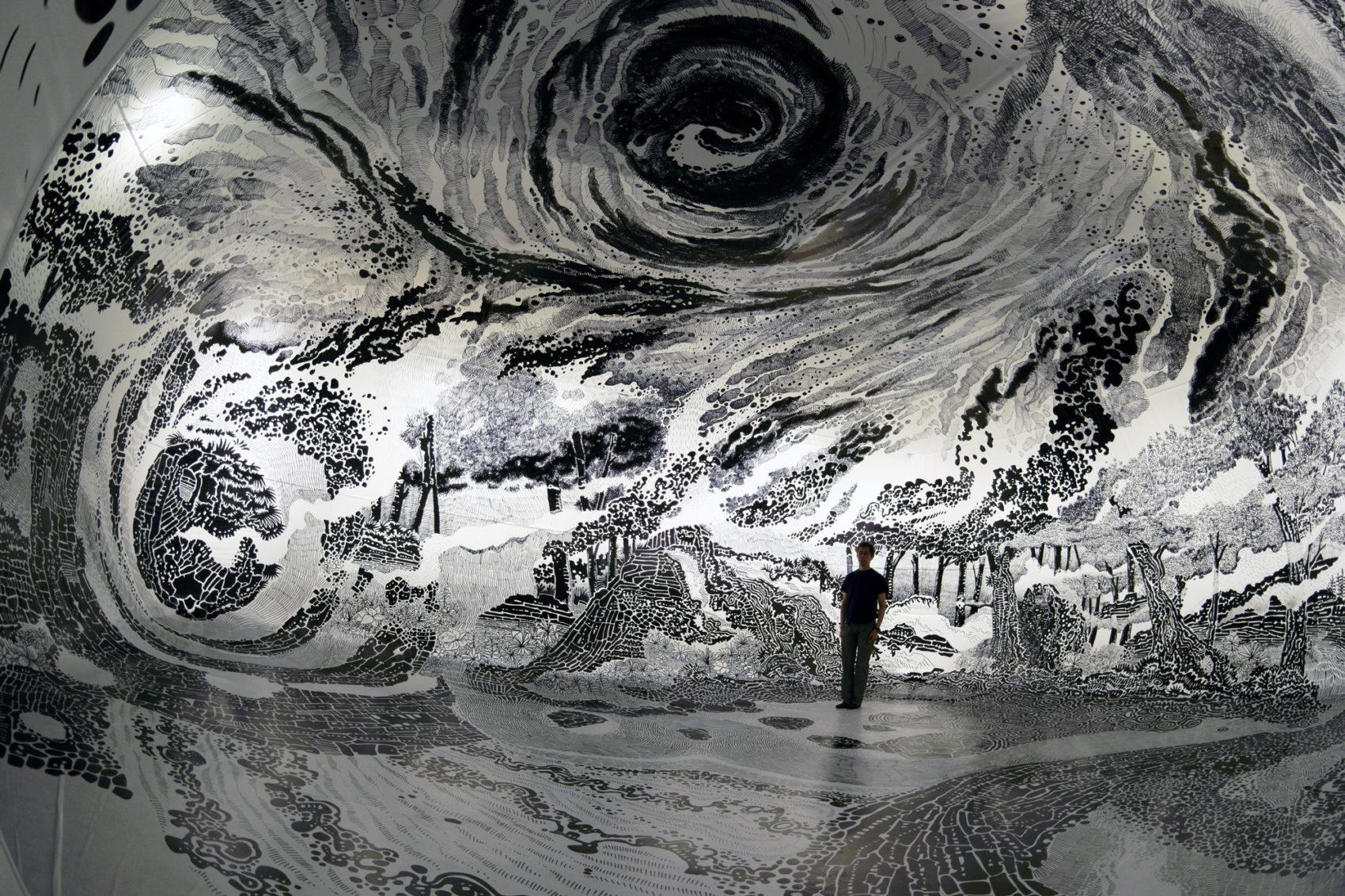 360 Degree Immersive Drawing by Oscar Oiwa New 360 Degree Immersive Drawing Created With 120 Marker Pens by Oscar Oiwa