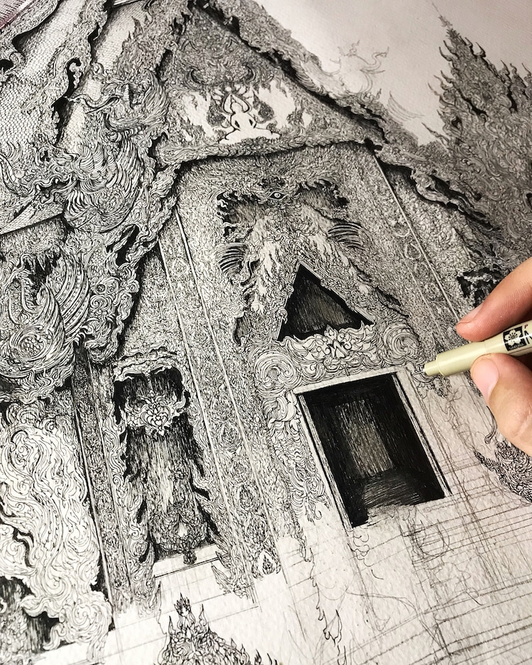 Wonderful Detailed Ink Drawing by Emi Nakajima 1 Artist Creates Meticulously Detailed Ink Drawings of Architecture Around the World