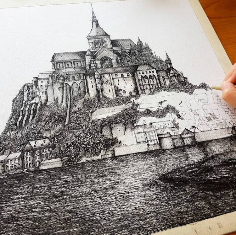 Wonderful Detailed Ink Drawing by Emi Nakajima 10 Artist Creates Meticulously Detailed Ink Drawings of Architecture Around the World