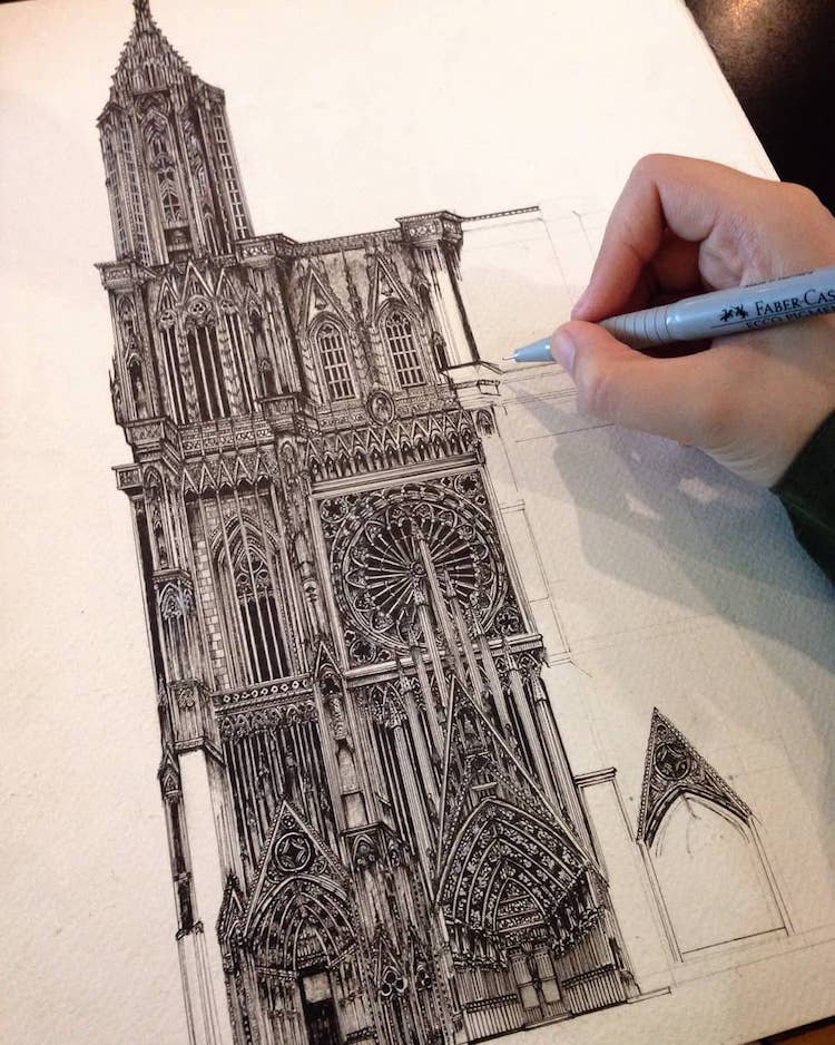 Wonderful Detailed Ink Drawing by Emi Nakajima 11 Artist Creates Meticulously Detailed Ink Drawings of Architecture Around the World