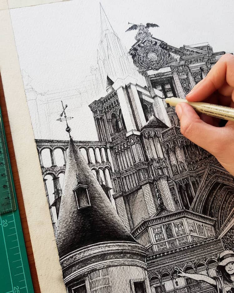 Wonderful Detailed Ink Drawing by Emi Nakajima 12 Artist Creates Meticulously Detailed Ink Drawings of Architecture Around the World