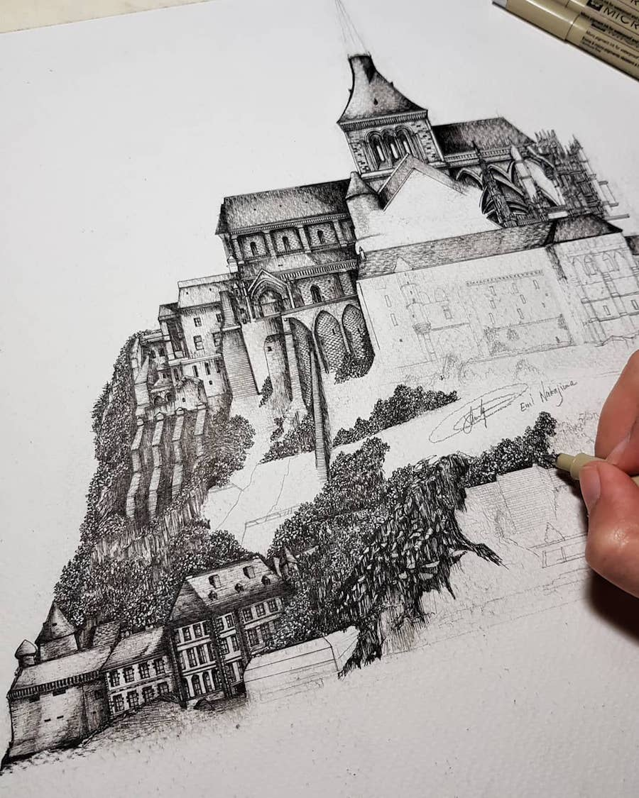 Wonderful Detailed Ink Drawing by Emi Nakajima 13 Artist Creates Meticulously Detailed Ink Drawings of Architecture Around the World