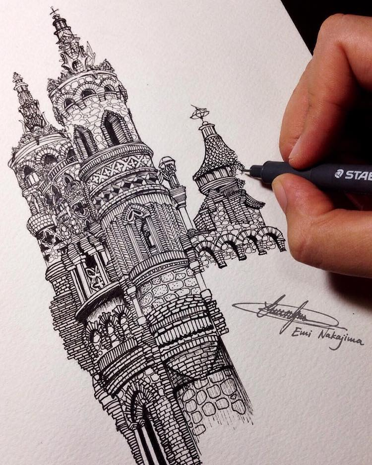Wonderful Detailed Ink Drawing by Emi Nakajima 2 Artist Creates Meticulously Detailed Ink Drawings of Architecture Around the World