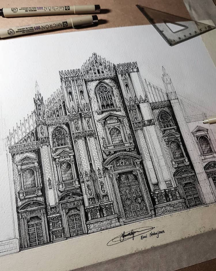 Wonderful Detailed Ink Drawing by Emi Nakajima 3 Artist Creates Meticulously Detailed Ink Drawings of Architecture Around the World