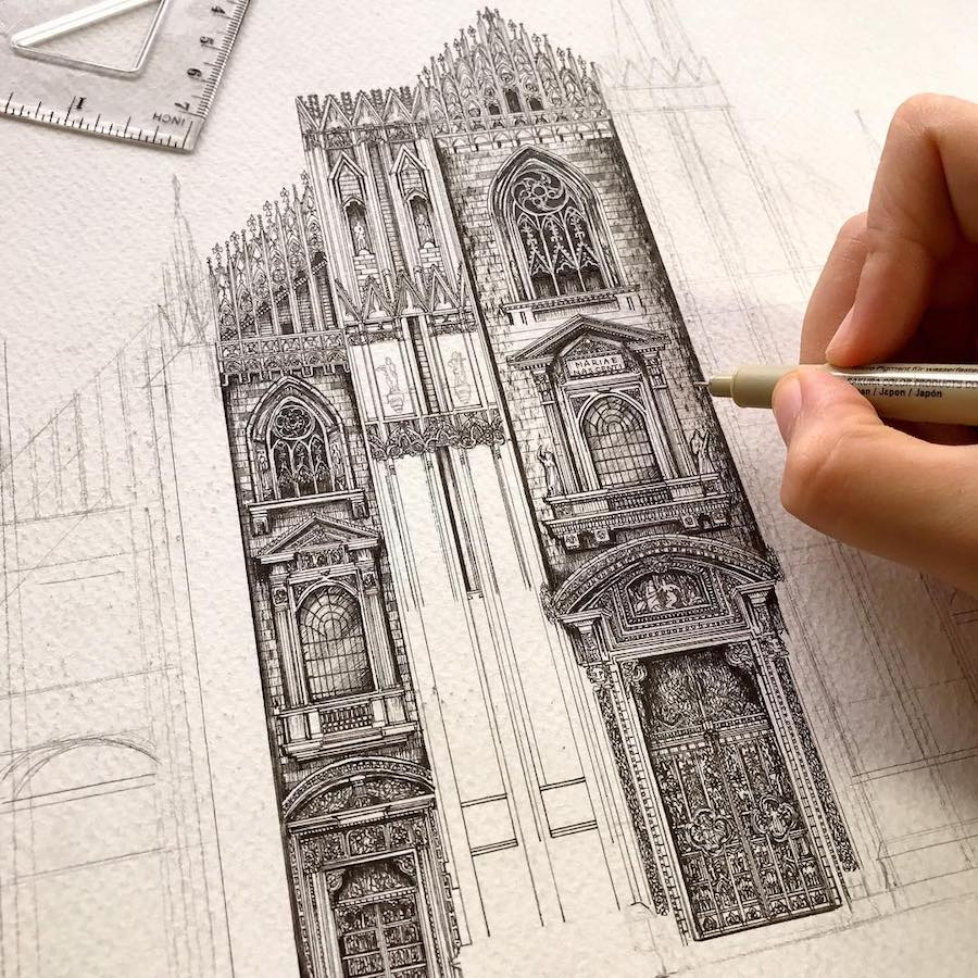 Wonderful Detailed Ink Drawing by Emi Nakajima 4 Artist Creates Meticulously Detailed Ink Drawings of Architecture Around the World