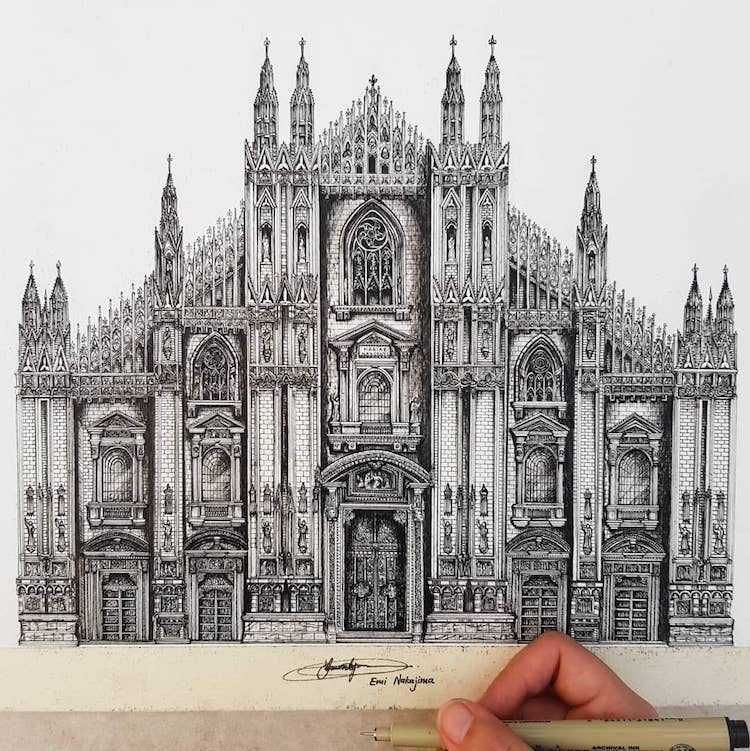 Wonderful Detailed Ink Drawing by Emi Nakajima 5 Artist Creates Meticulously Detailed Ink Drawings of Architecture Around the World