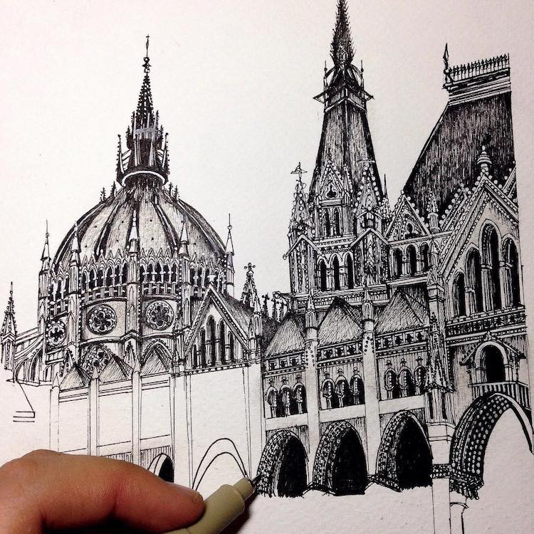 Wonderful Detailed Ink Drawing by Emi Nakajima 8 Artist Creates Meticulously Detailed Ink Drawings of Architecture Around the World