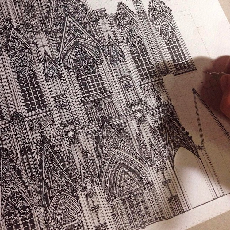 Wonderful Detailed Ink Drawing by Emi Nakajima 9 Artist Creates Meticulously Detailed Ink Drawings of Architecture Around the World