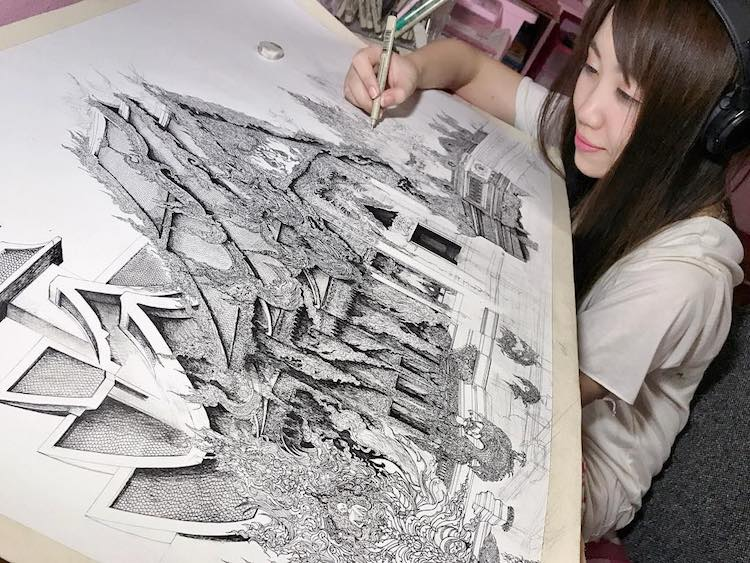 Artist Creates Meticulously Detailed Ink Drawings of Architecture Around the World