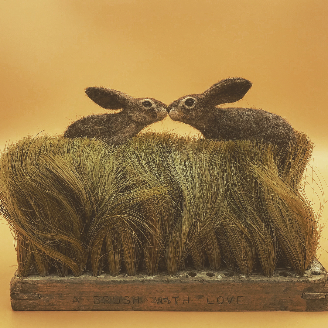 Amazing miniature by Simon Brown Felted Wildlife Perch on Found Objects in Charming Sculptures by Simon Brown