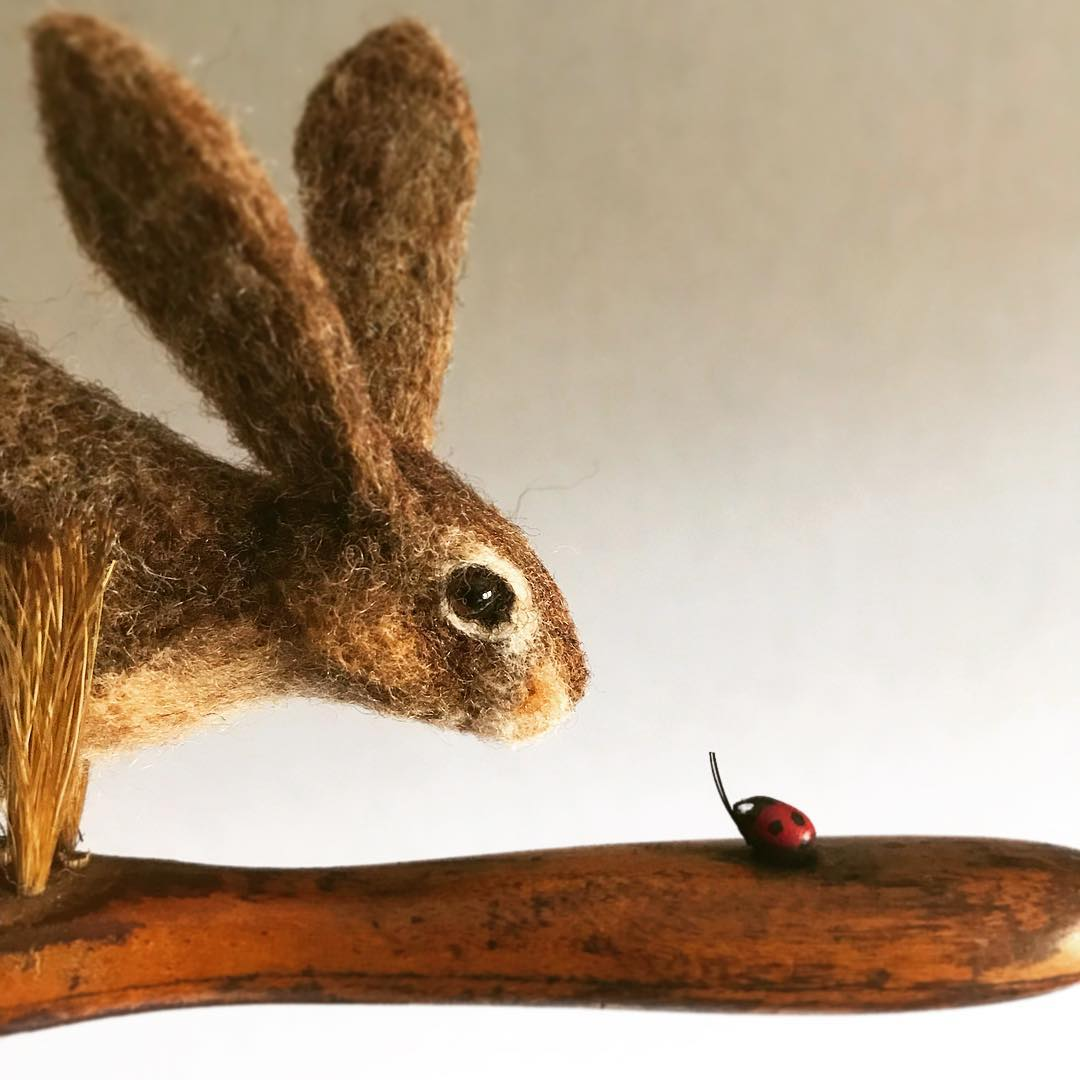 Best miniature by Simon Brown Felted Wildlife Perch on Found Objects in Charming Sculptures by Simon Brown