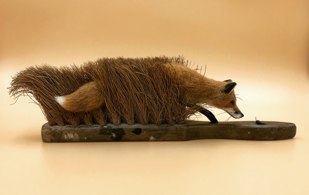 miniature Art by Simon Brown Felted Wildlife Perch on Found Objects in Charming Sculptures by Simon Brown