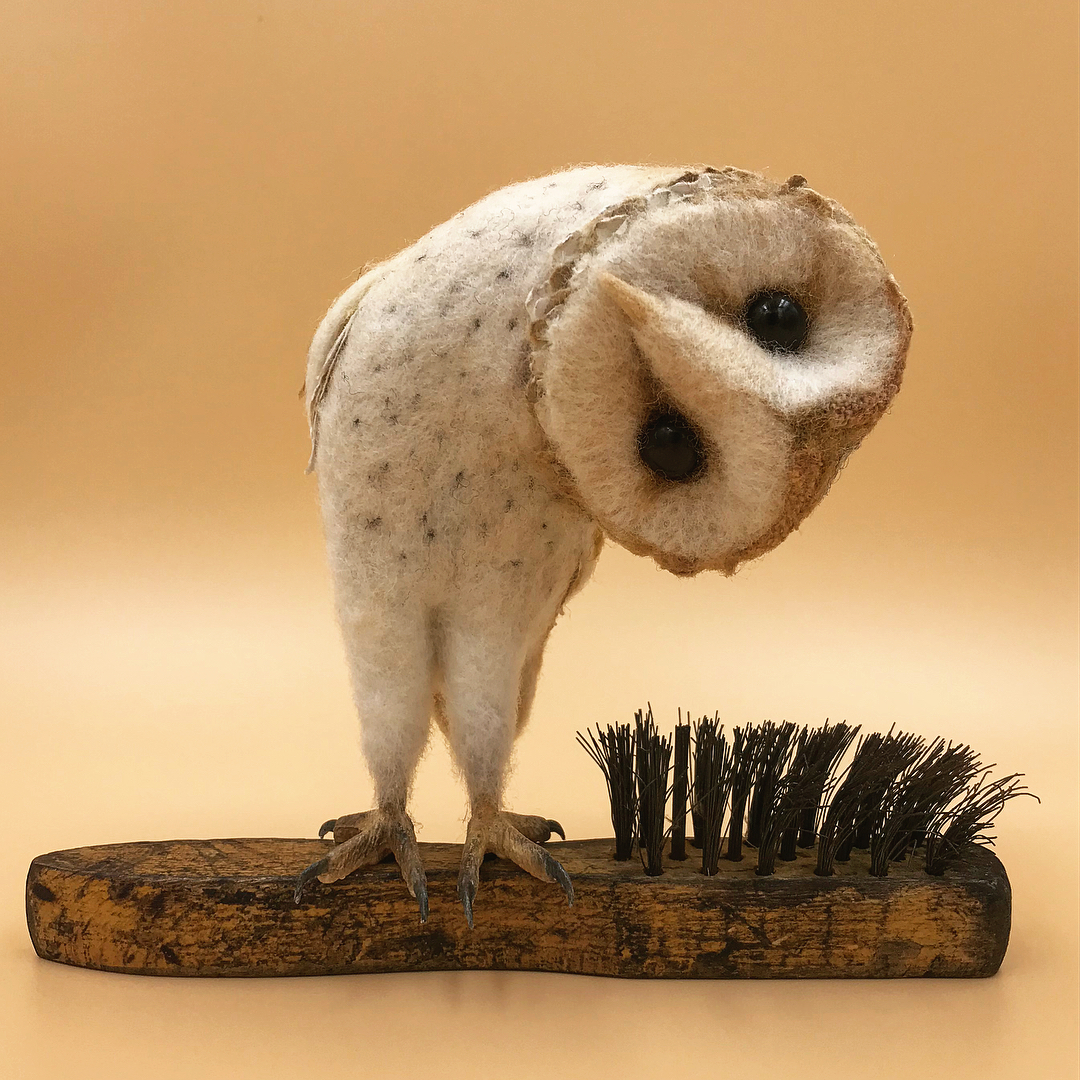 wonderful miniature by Simon Brown Felted Wildlife Perch on Found Objects in Charming Sculptures by Simon Brown