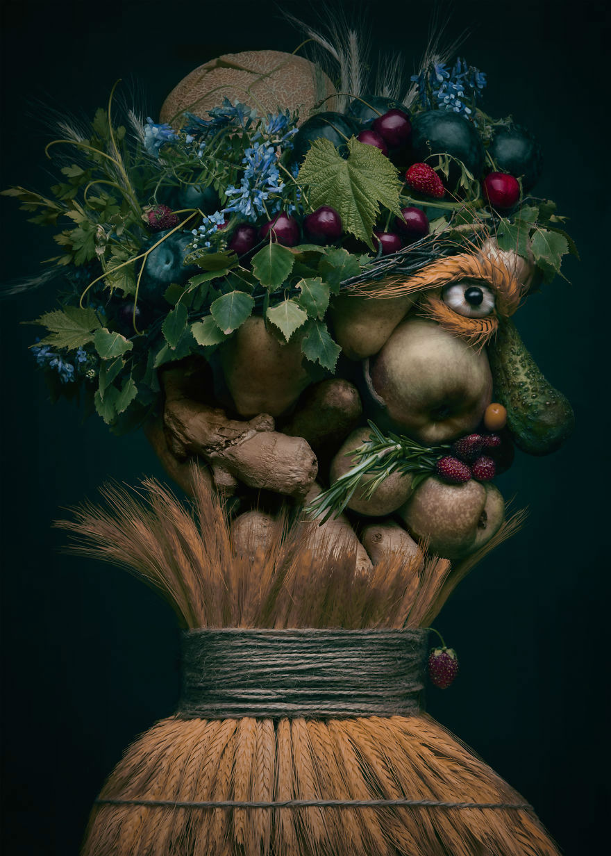 Mind Blowing Realistic Portrait Made with Fruits and Vegetables 1 Mind Blowing Realistic Portrait Made with Fruits and Vegetables