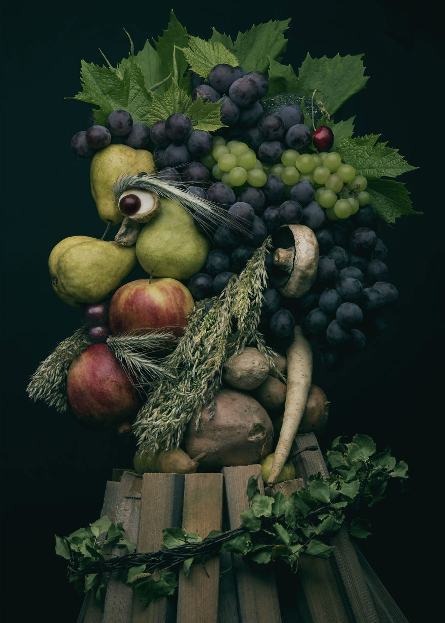 Mind Blowing Realistic Portrait Made with Fruits and Vegetables 3 Mind Blowing Realistic Portrait Made with Fruits and Vegetables
