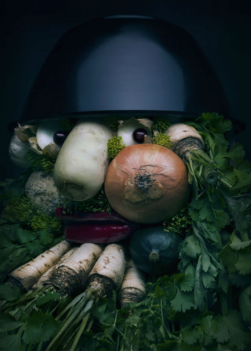 Mind Blowing Realistic Portrait Made with Fruits and Vegetables 4 Mind Blowing Realistic Portrait Made with Fruits and Vegetables