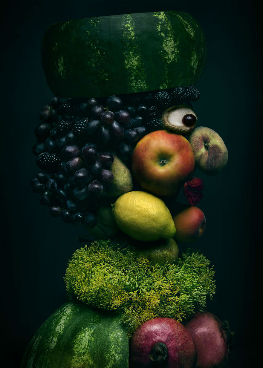 Mind Blowing Realistic Portrait Made with Fruits and Vegetables 5 Mind Blowing Realistic Portrait Made with Fruits and Vegetables