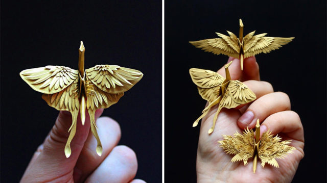 The Most Beautiful Paper Cranes with Feathery Details