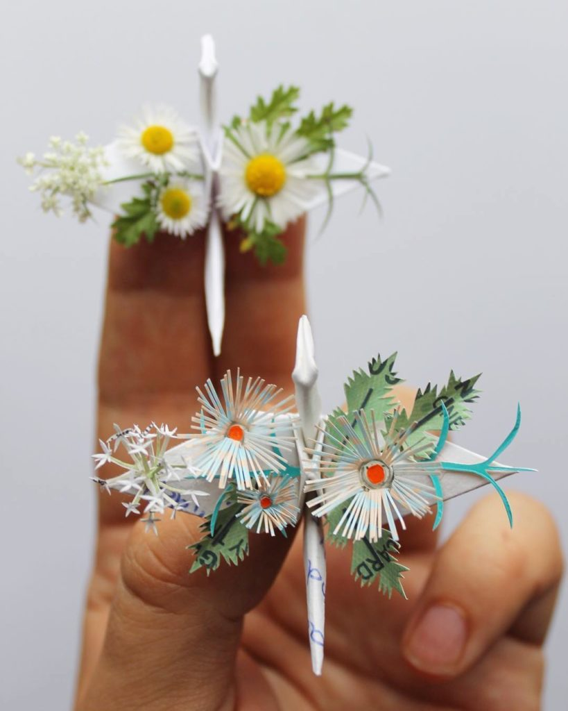 the Most Beautiful Paper Cranes with Feathery Details 3 819x1024 The Most Beautiful Paper Cranes with Feathery Details