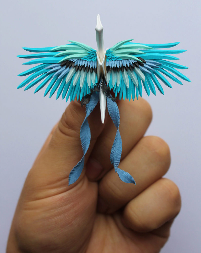 the Most Beautiful Paper Cranes with Feathery Details 4 814x1024 The Most Beautiful Paper Cranes with Feathery Details